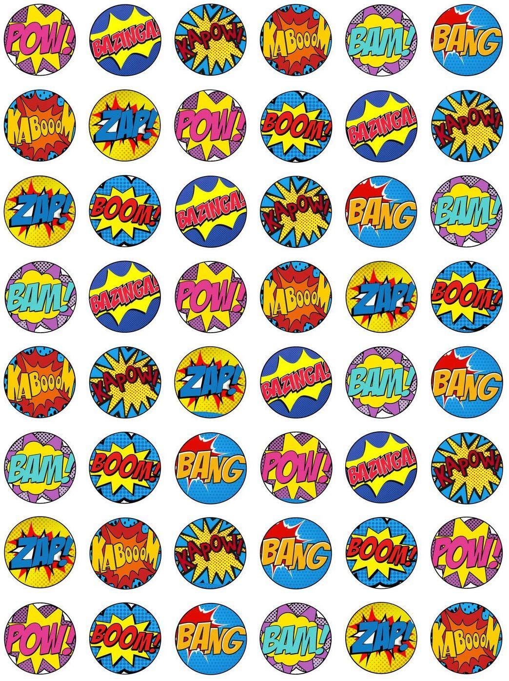 48 edible wafer paper superhero retro pow zap comic book