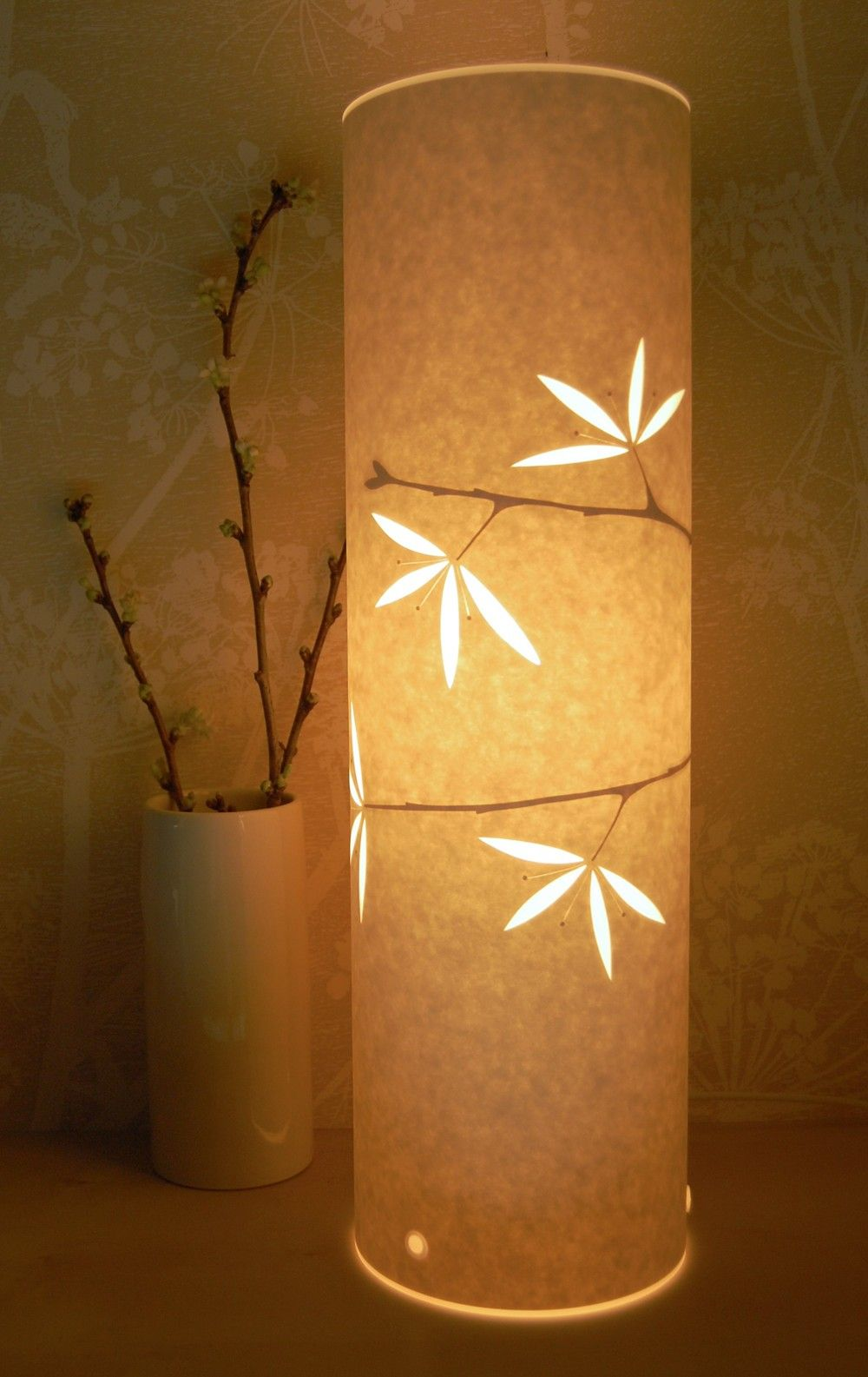 tall blossom cut paper lamp by Hannah Nunn