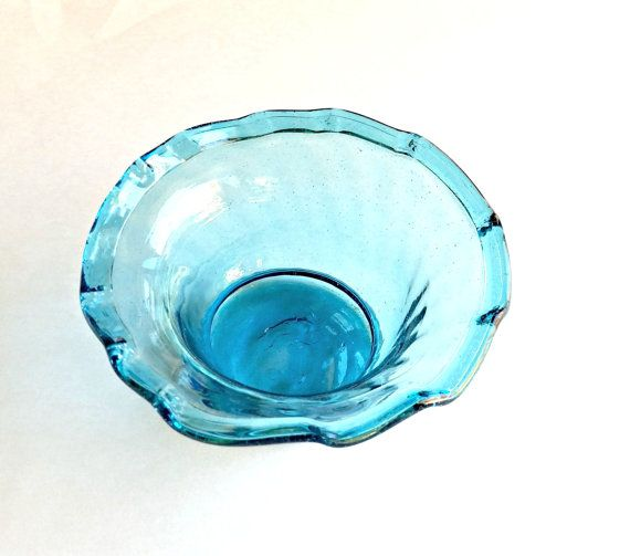 Handmade Blue Bowl Vintage Handblown Glass Bowl by RibbonsandGlass