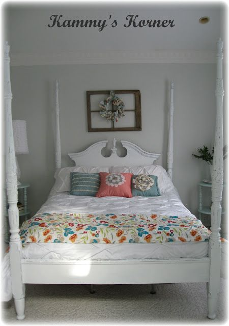 Poster Bed Painted White With Chalk Paint