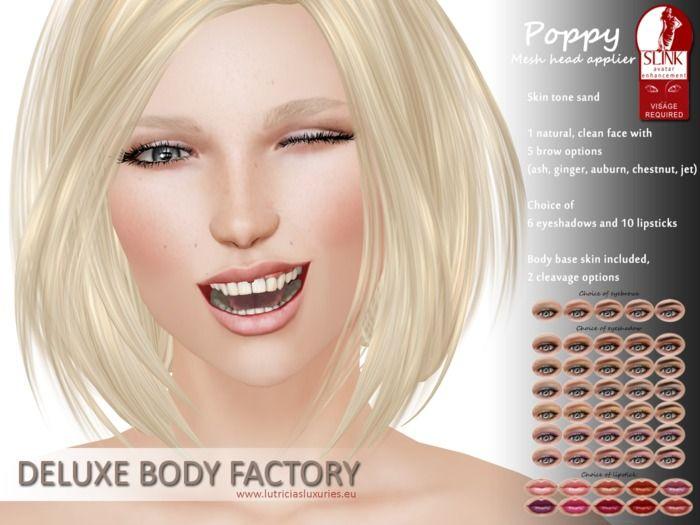 SecondLife #SLFashion Poppy skin SLINK Visage mesh head applier