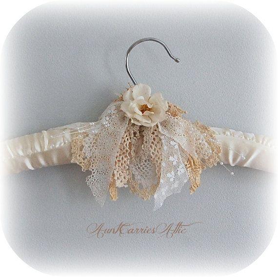 Wedding Dress Hanger Padded Ivory Beige Shabby By Auntcarriesattic