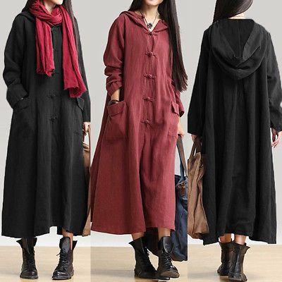 3675d8f4f39 Plus Size Womens Long Sleeve Hooded Long Maxi Dress Loose Hoodies  Sweatshirts