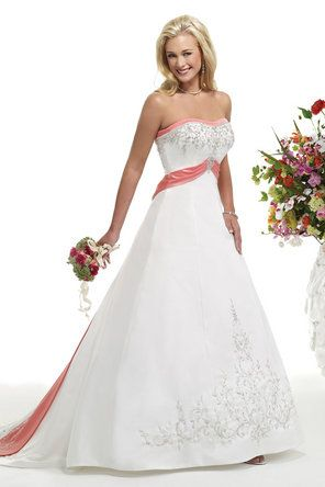 Coral Trim Wedding Dress This Is Gorgeous Ella Rosa Style Be16
