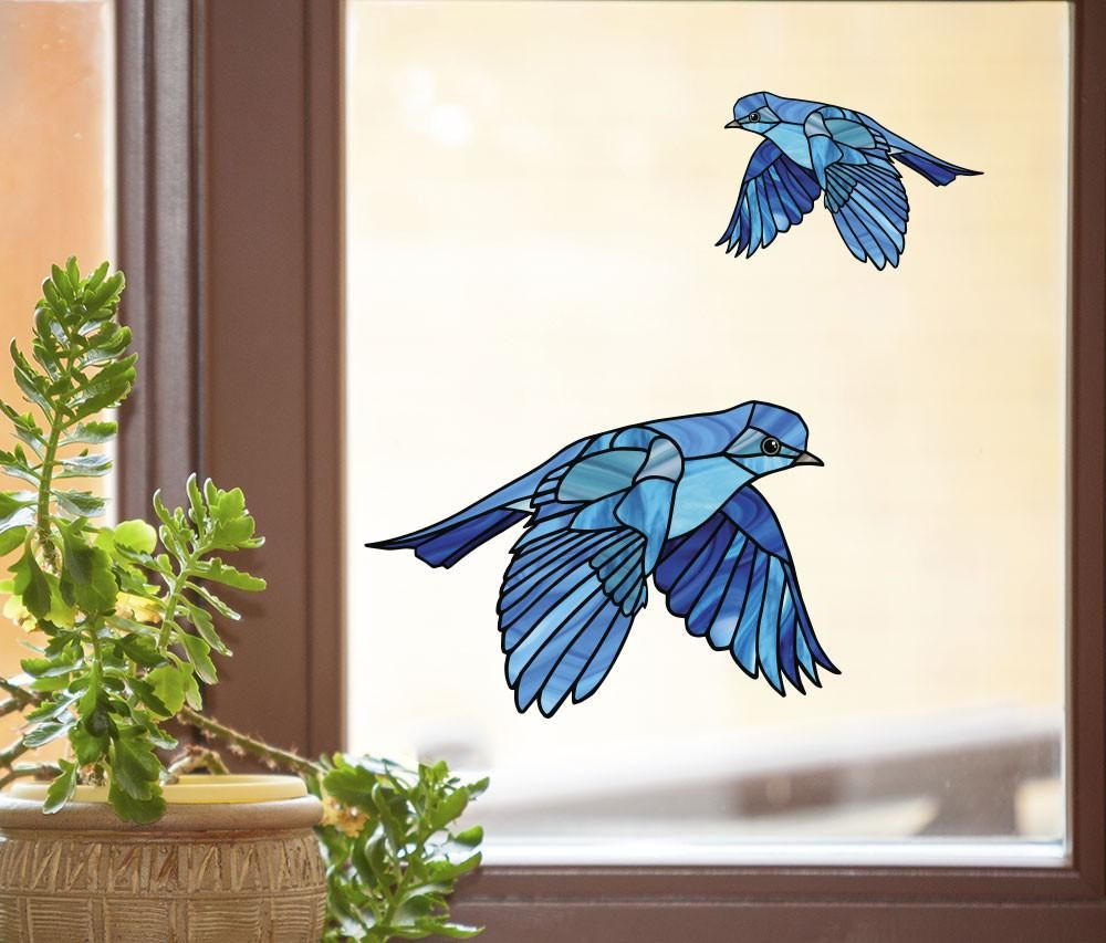 Clrwnd bluebird flying stained glass style vinyl decal for windows yydc size choices