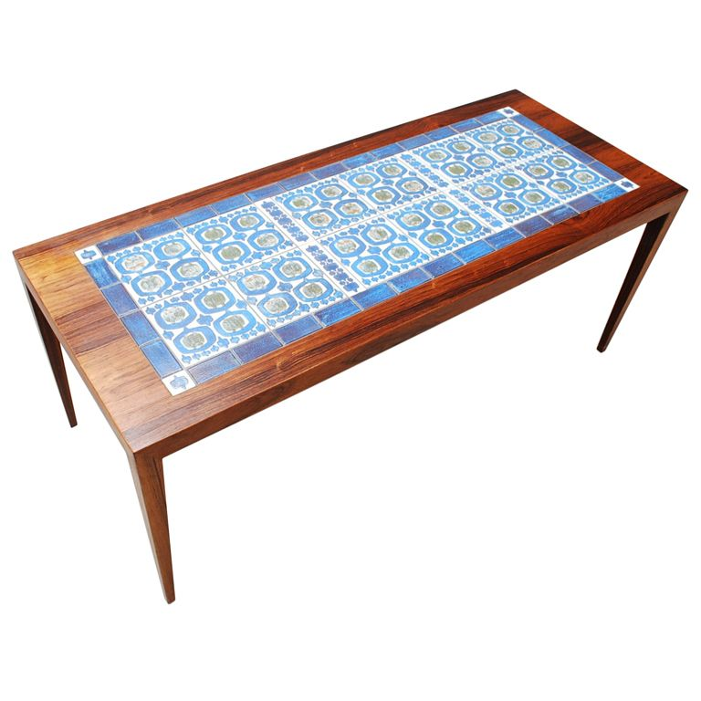 Model Of Rosewood Danish Coffee Table with Royal Copenhagen Tiles Top Design - Beautiful rosewood coffee table Awesome