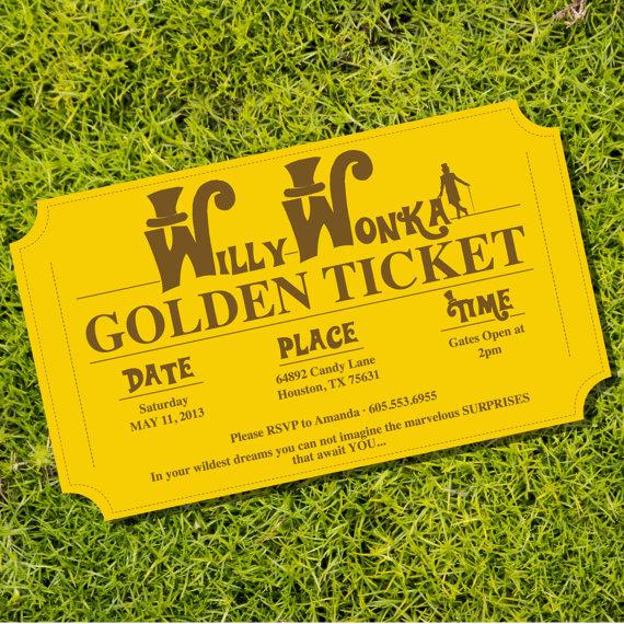 Golden Ticket Invitation Birthday Party Theme Instantly