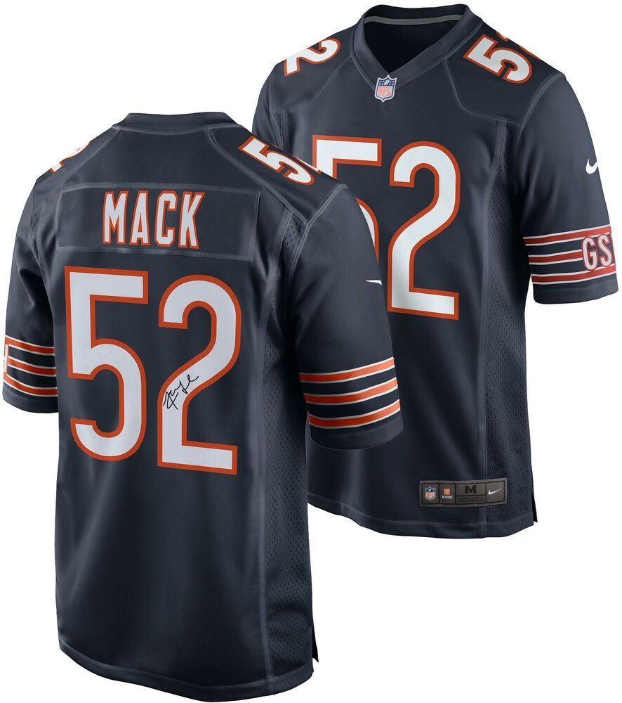 Khalil Mack Chicago Bears Autographed Nike Navy Game Jersey Sportsmemorabilia Autograph Football Navy Games Mack Chicago Bears