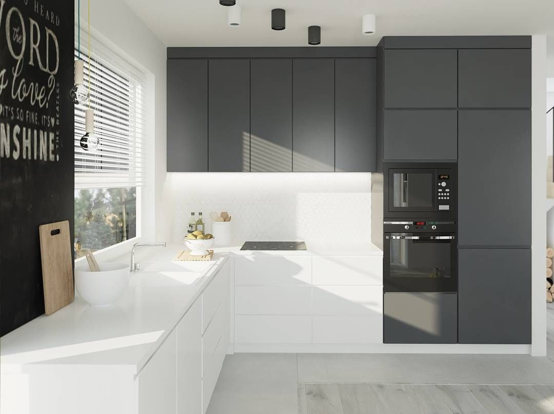 Grey Cupboard Colour For Overhead Kitchen Cupboards Next To Rangehood Scandinavian Kitchen Design Scandinavian Kitchen Renovation Modern Kitchen Design
