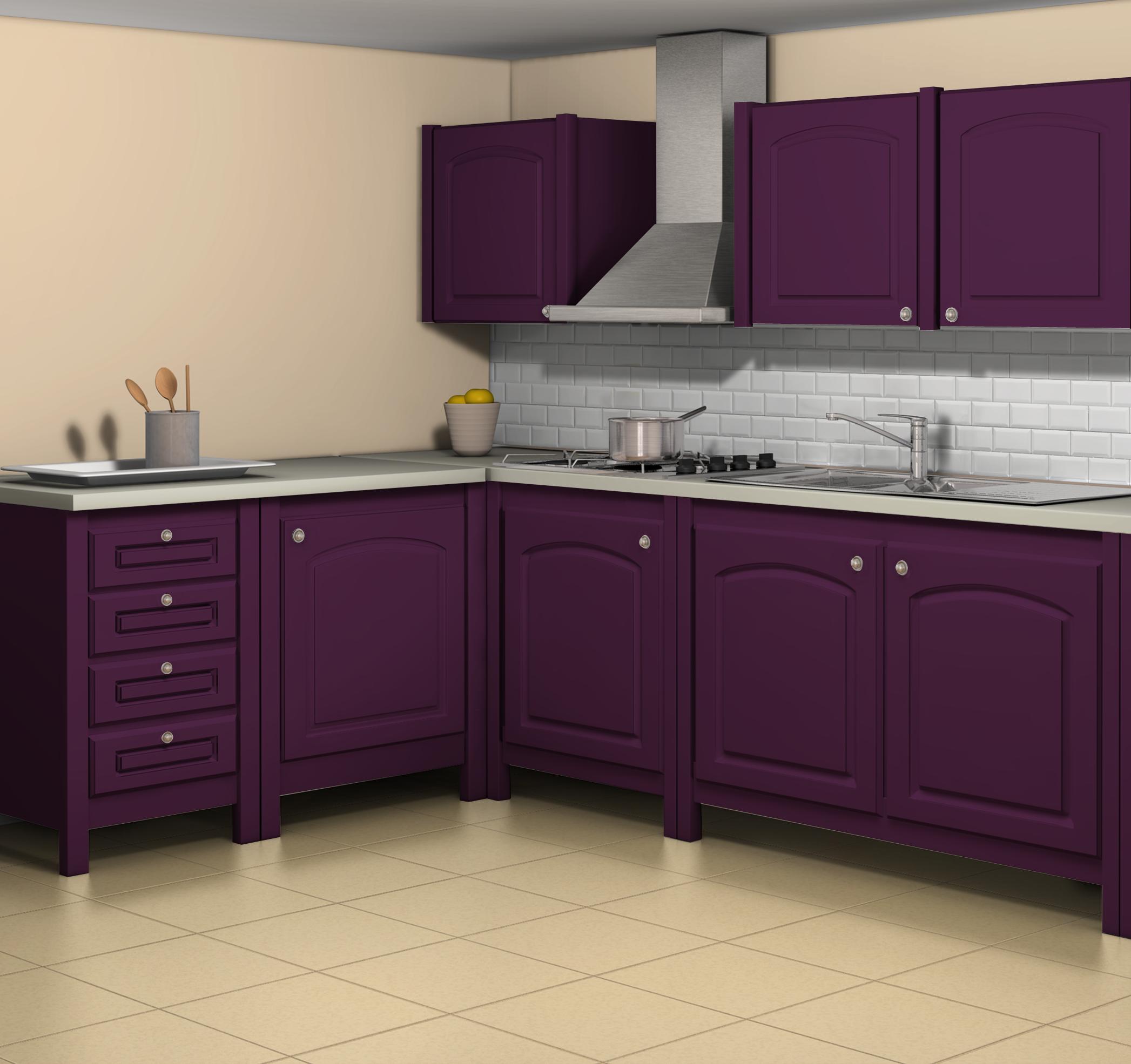 Esprit campagne simulation avec la teinte aubergine fa ades meubles la teinte cr me de for Credence violette