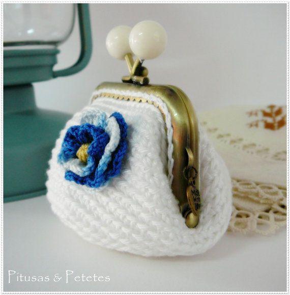 Monedero de crochet blanco Bag // Crochet coin purse   http ...