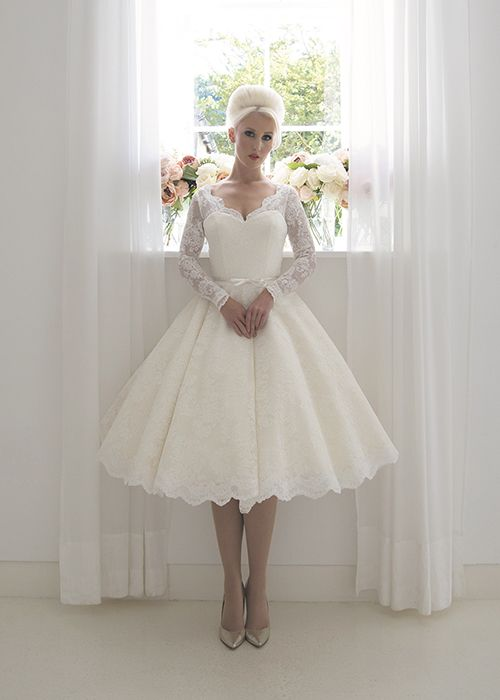 A Shorter Sister To Isabella This Full French Lace Tea Length Wedding Dress Is