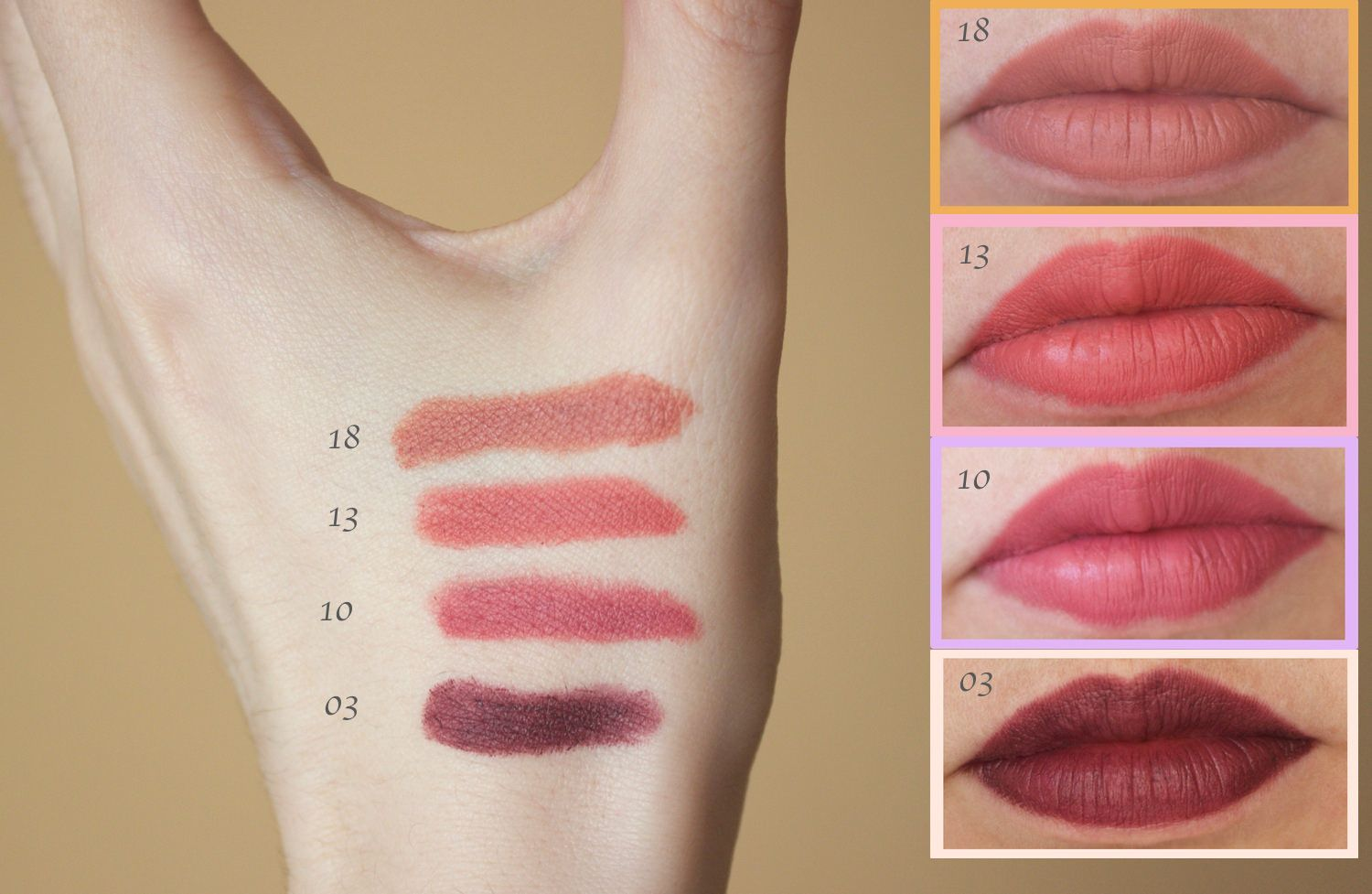 Golden Rose Matte Lipstick Crayons In The Shades 03 10 13 And 18