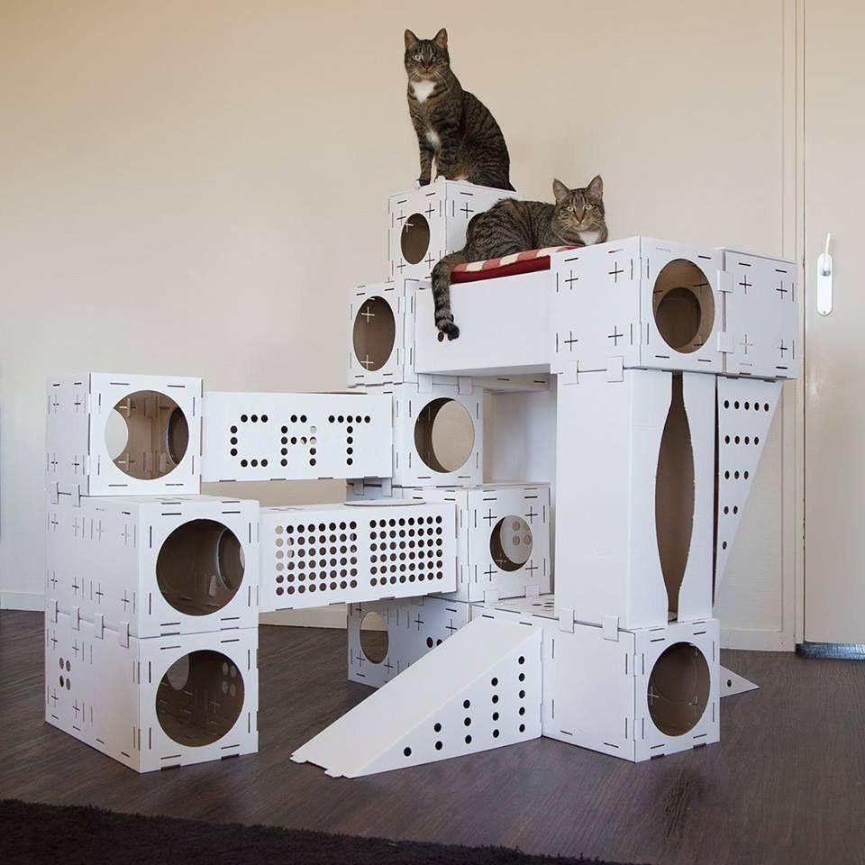 Blocks Modular Cat Playhouse #Cat, #House, #Modular, #Playful | Cat house  diy, Cat castle, Cat playhouse