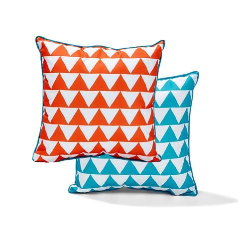 Outdoor Chair Cushion Orange Blue Triangles Kmart