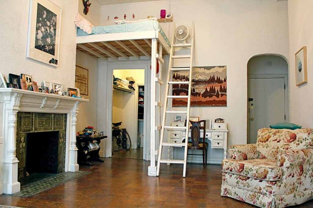 studio apartment loft bed. Interior  Vintage Electic Studio Apartment Design With Sleeping Loft Bed And Clever Use Of A