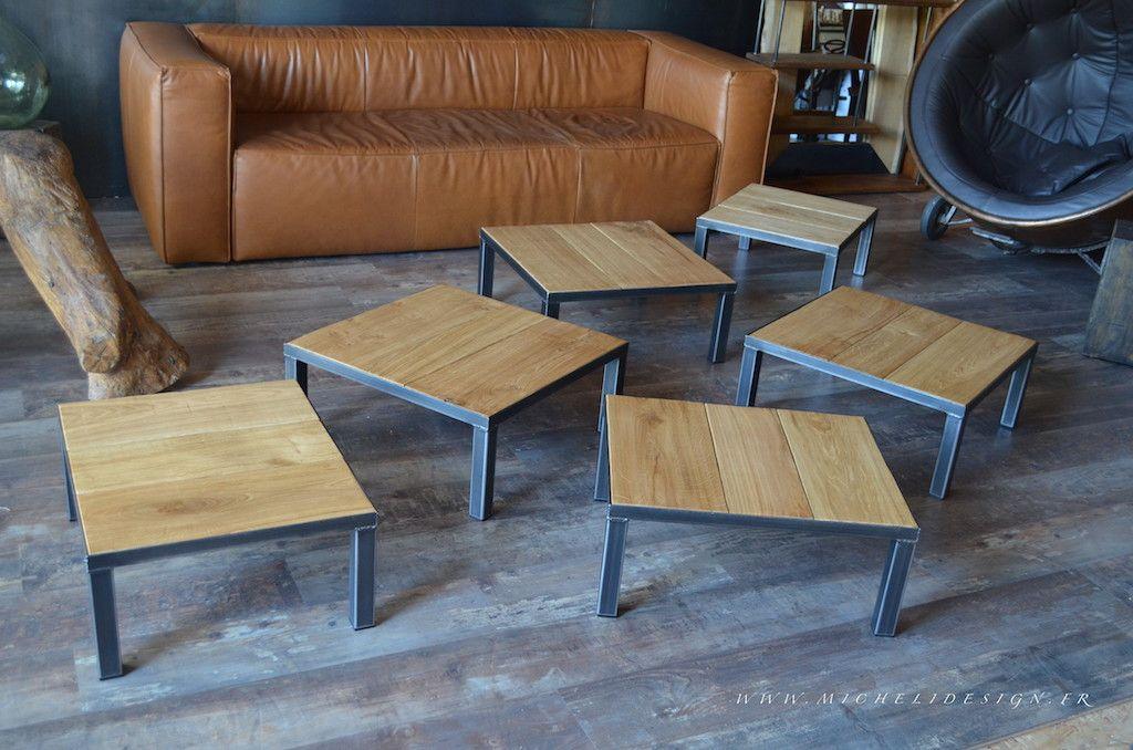 Petite Table Basse Carrée En Bois Et Métal Fabrication à La