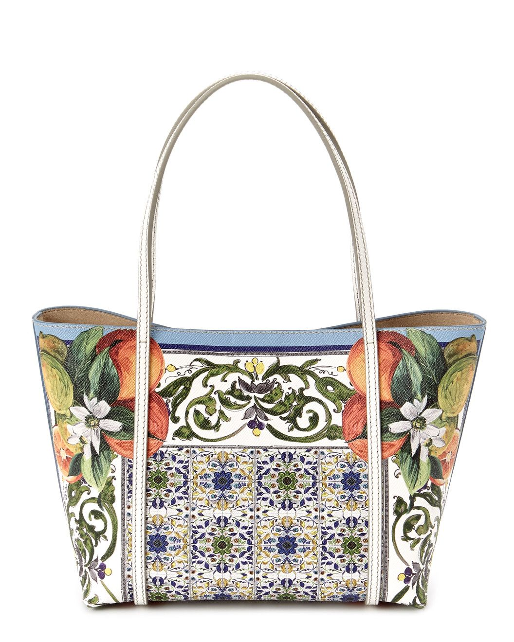 """Spotted this Dolce & Gabbana """"Escape"""" Small Majolica Print Leather Tote on Rue La La. Shop (quickly!)."""