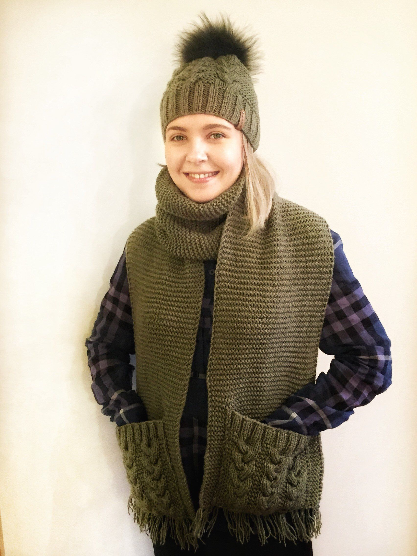 7f4300a1b1d Excited to share this item from my  etsy shop  Knitted olive scarf and hat  set