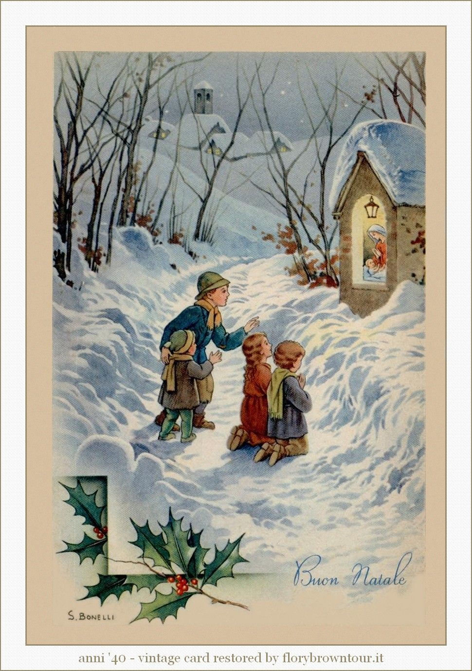 Cartoline Di Natale Depoca.Cartolina Di Natale D Epoca Restaurata Con Bambini Che