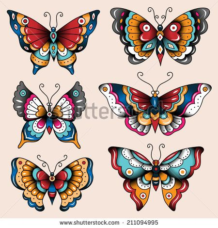 13a738cf8d778 Set of old school tattoo art butterflies for design and decoration ...