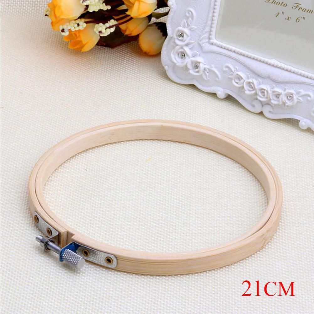 Bamboo Needlecraft Embroidery Hoop Sewing Tools Cross Stitch Frame Round Loop