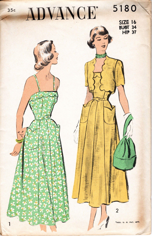 1940s Dress Pattern Advance 5180 Scallop Trim Sundress With Matching Bolero Princess Seams Fit A 50s Dress Pattern 1940s Dress Pattern Vogue Dress Patterns [ 3000 x 1937 Pixel ]