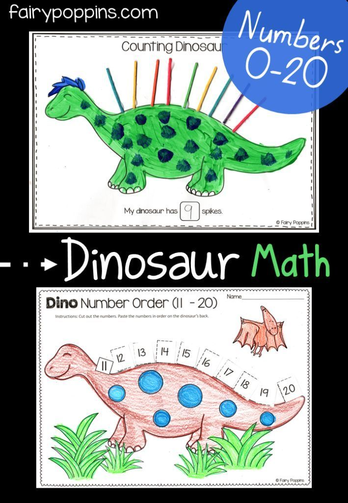 dinosaur math activities 0 20 tk preschool math kindergarten math numbers kindergarten. Black Bedroom Furniture Sets. Home Design Ideas