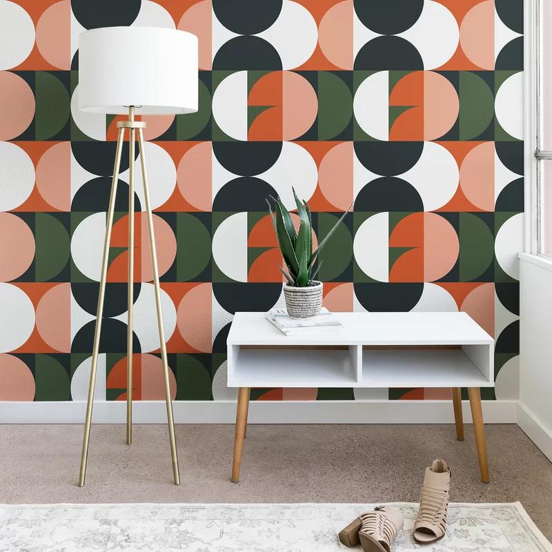 East Urban Home Peel And Stick Wallpaper Panel Wayfair Wallpaper Panels Peal And Stick Wallpaper Mid Century Modern Wallpaper