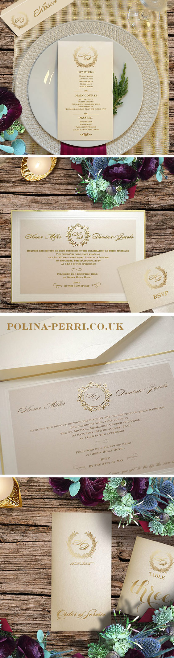 Ivory & Gold wedding invitations fascinate with its regal charm ...