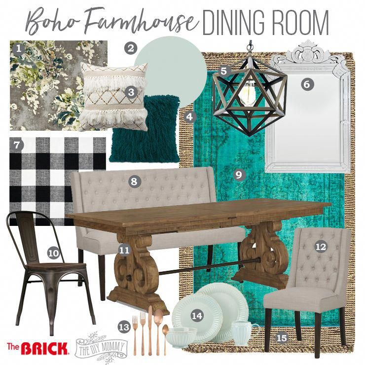 Boho Farmhouse Dining Room Mood Board Black White Grey Teal Aqua Copper Whitelivingroom Farmhouse Dining Room Turquoise Dining Room Farmhouse Dining #teal #black #and #white #living #room #ideas