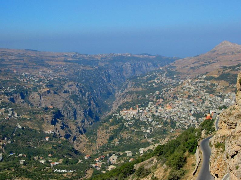 Lebanon Becharri View With The Gorge The Terrain Protected The