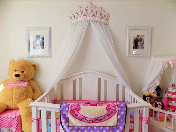 Crib canopy bed crown pink princess wall decor pink for Nursery crown canopy