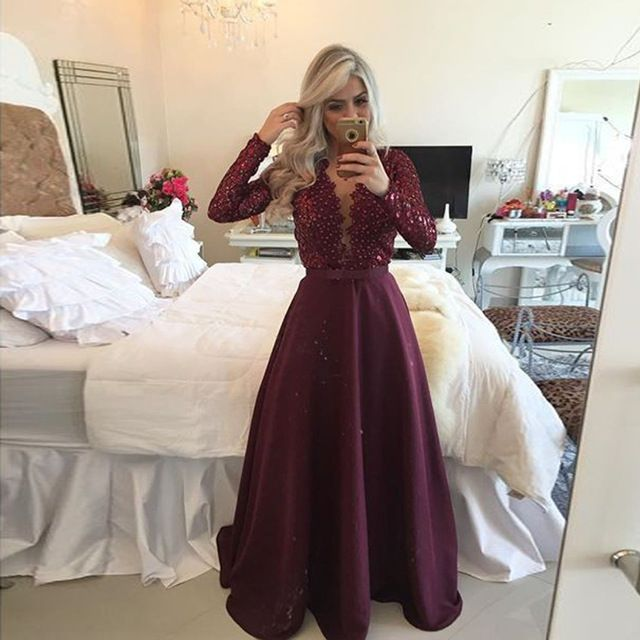 Lace Up Long Sleeve Dresses for Prom