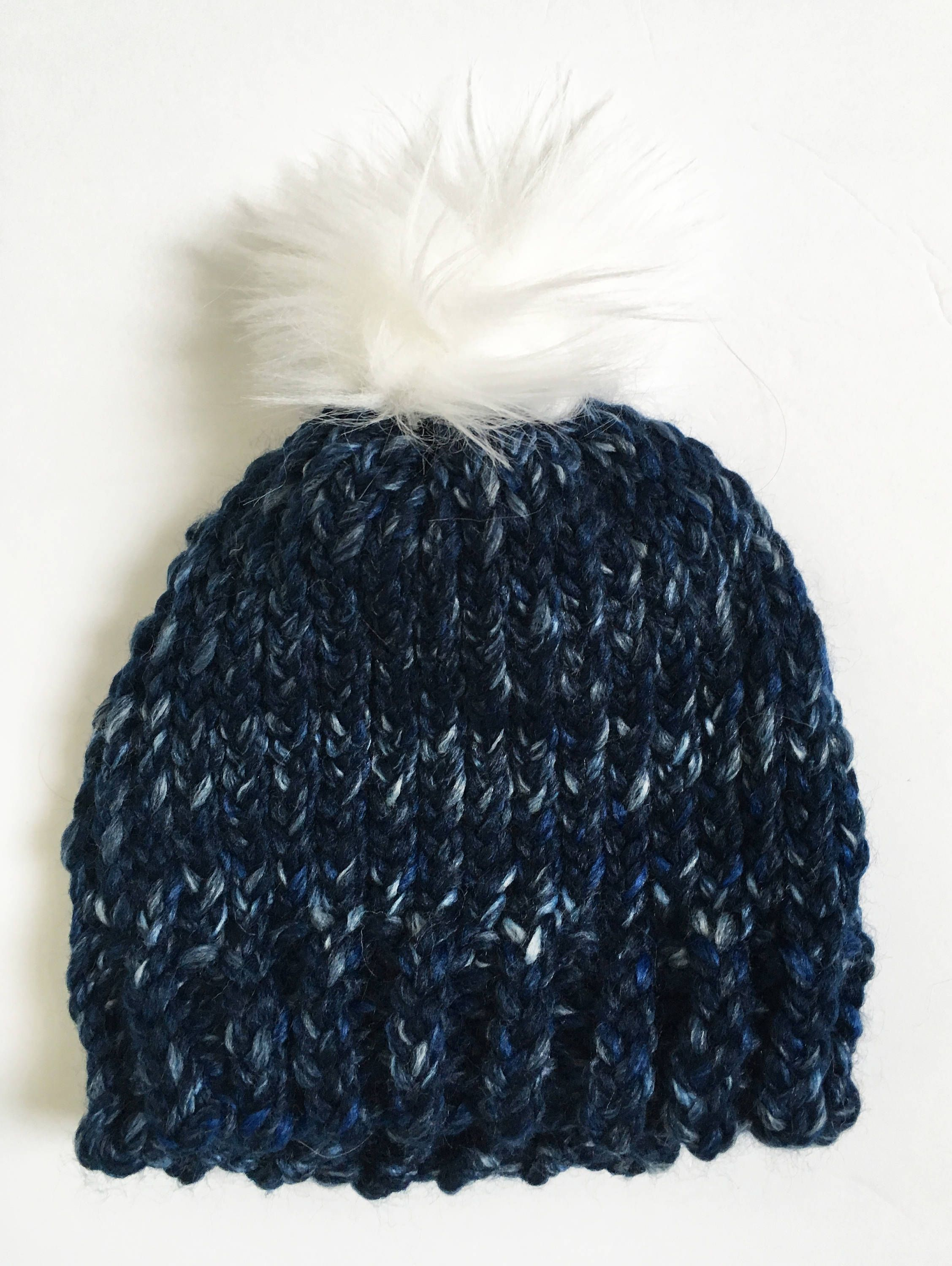 7cbab944886 Blue Toddler Hat with Faux Fur Pompom by DesignsByTheC on Etsy https   www