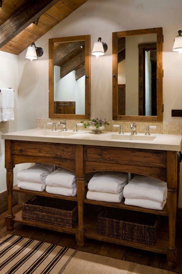 40 baños rústicos modernos con una gran mezcla de acabados Baño