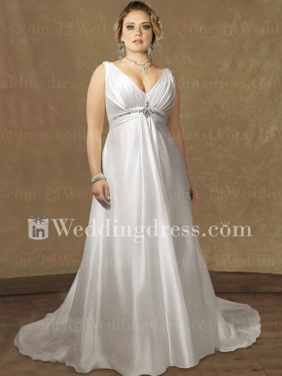 Satin Empire Plus Size Wedding Dress PS108 | Wedding Ideas | Wedding ...