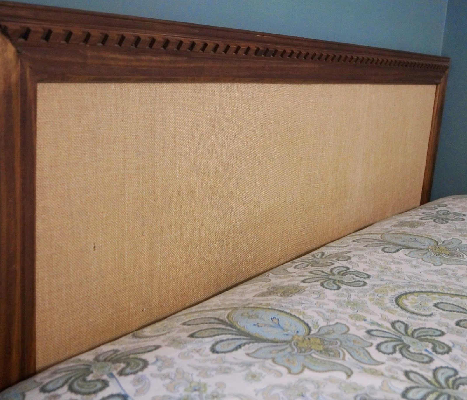 Burlap And Wood Trim Easy Headboard No Tools Required Do Not