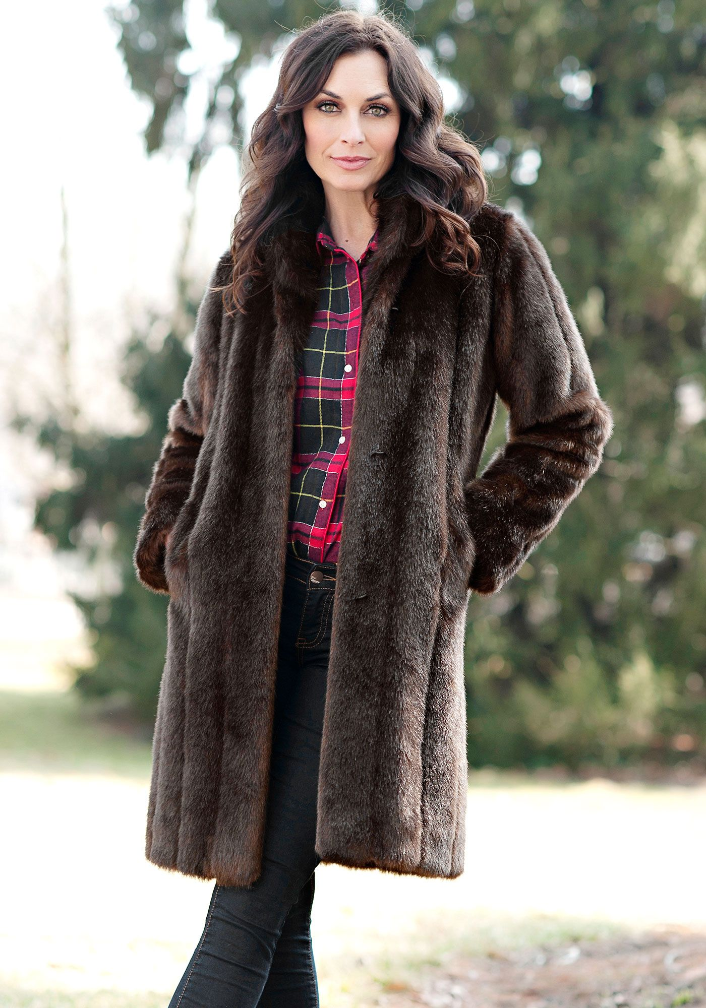 1ec5b525149 Sable Signature Knee Length Faux Fur Coat   Fabulous-Furs $399.00 ...