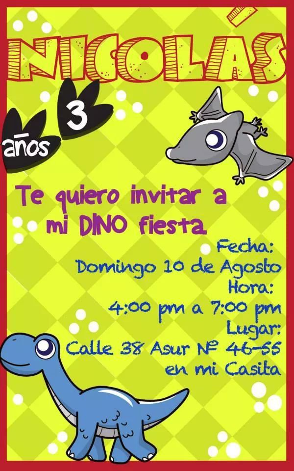 Invitacion Dinosaurio Cumple Dinosaurio Invitaciones De
