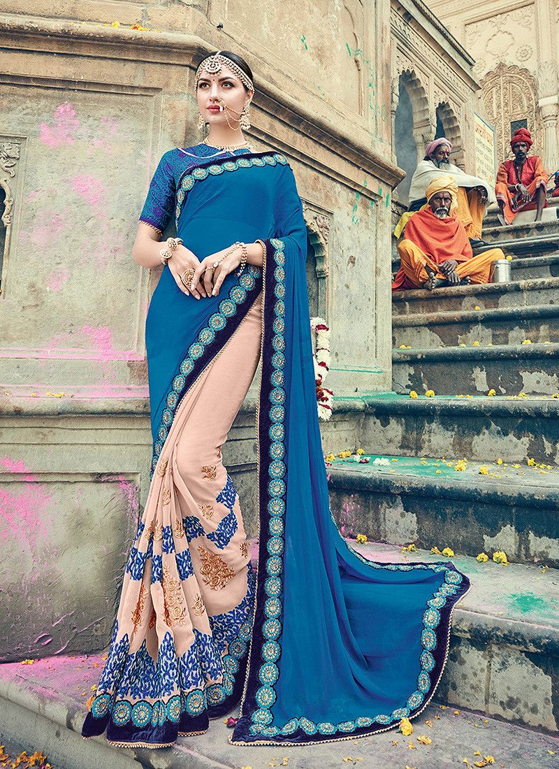 Blue u pink colour designer heavy party wear fancy fabric saree with