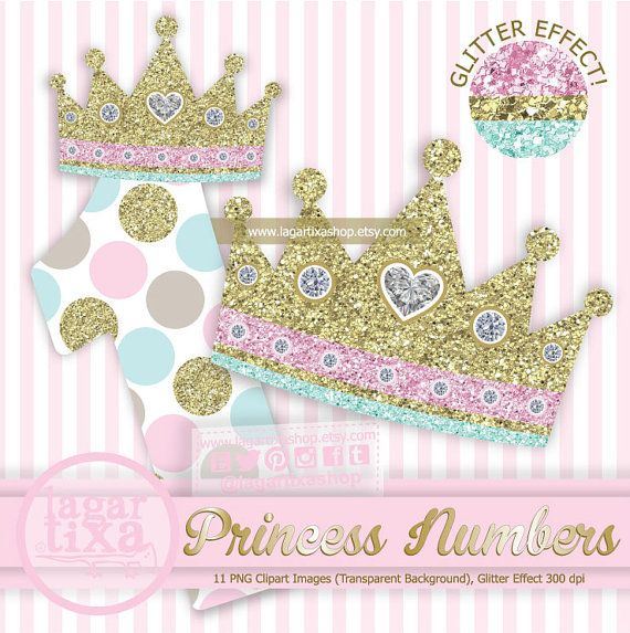 Princess Crown Numbers 0 To 9 Pale Pink Turquoise Gold Glitter Digital File Png Polka Dots Diamonds For I Clip Art Glitter Digital Paper Pink Turquoise