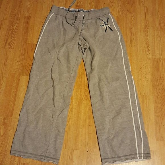 Sweatpants Gray sweatpants but thinner material. Has white stripes going down each leg, with a logo on hip shown in pic 2 No Boundaries Pants Track Pants & Joggers