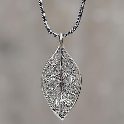 Sterling silver coca leaf pendant necklace artisan jewelry coca sterling silver coca leaf pendant necklace artisan jewelry coca diamond aloadofball Image collections