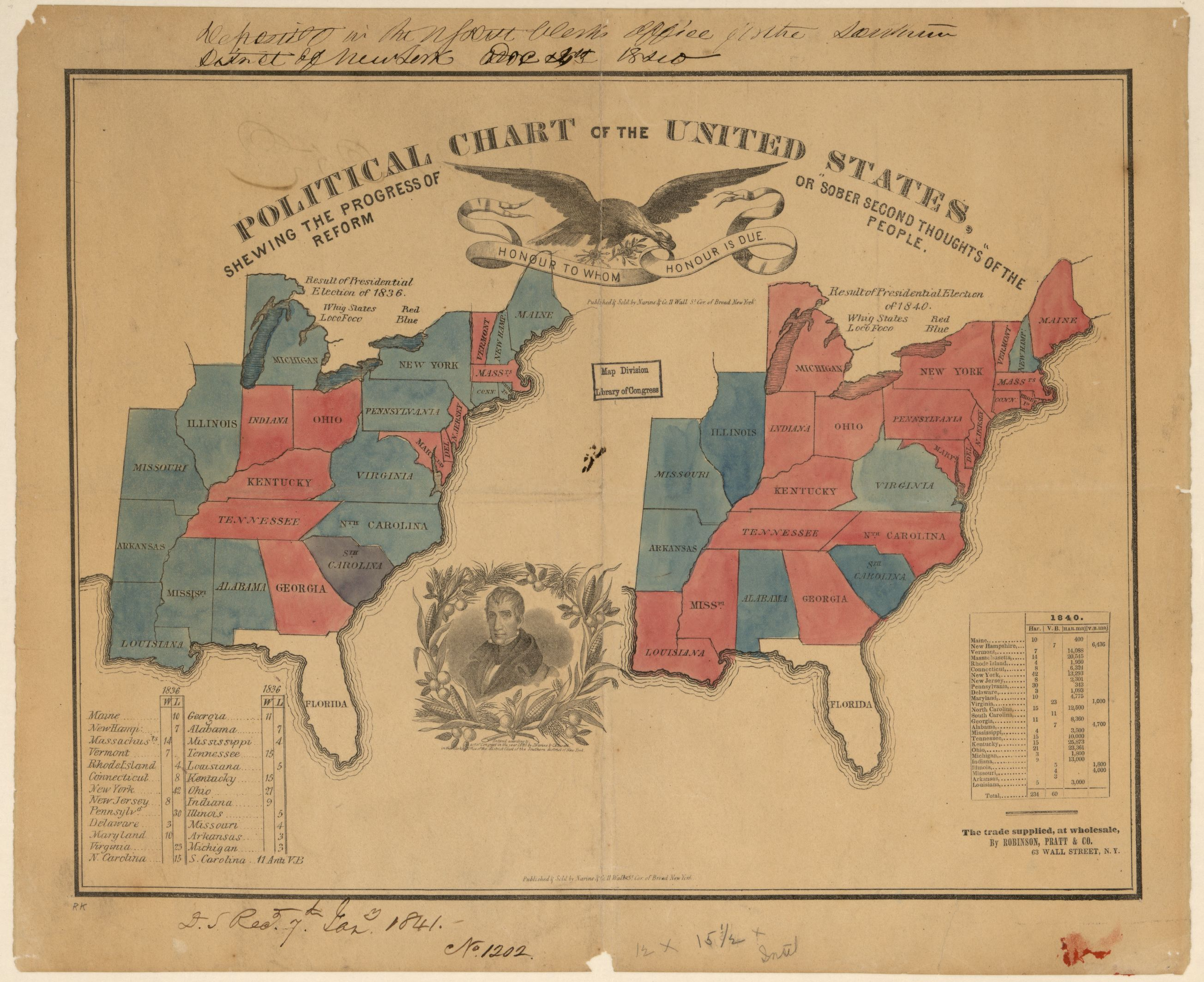 Political Chart Of The United States Showing The Results Of The - 1836 maps us