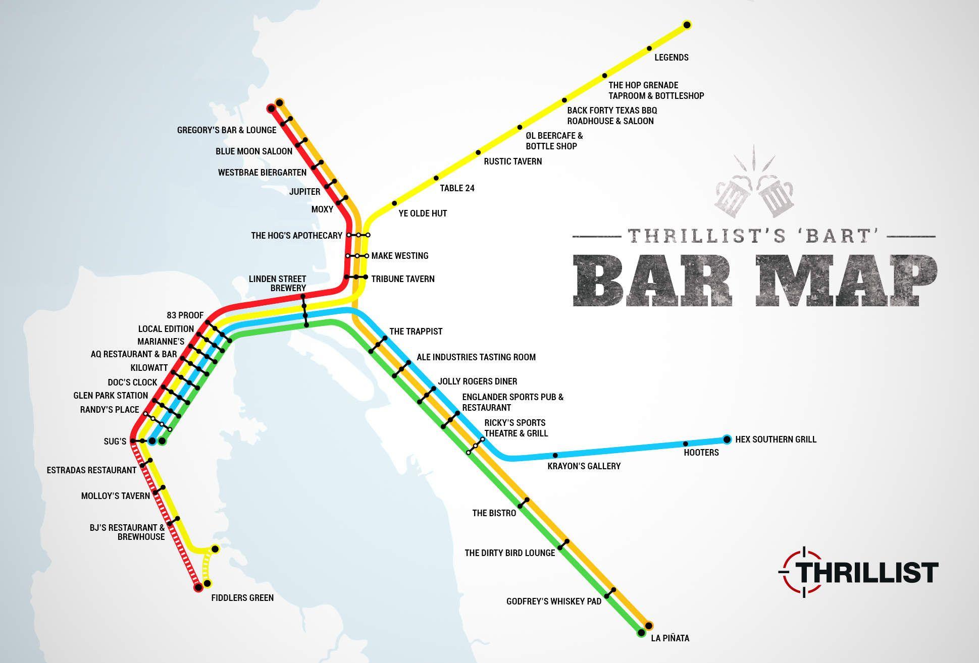 The FirstEver BART Bar Map  Bay area San francisco and Bar