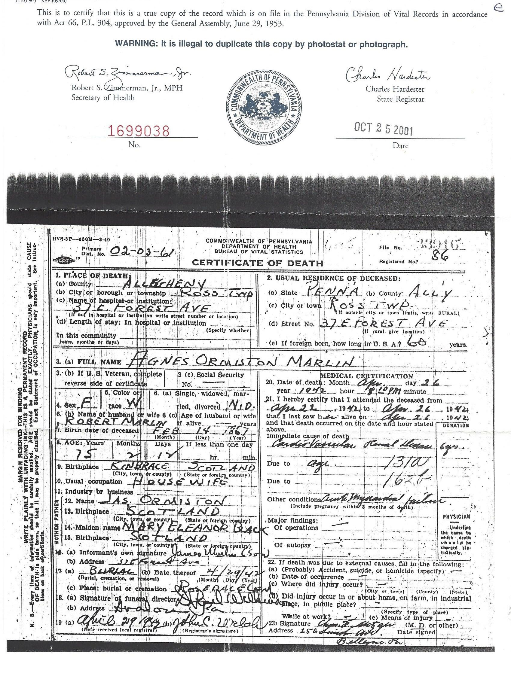 Robert marlin death certificate indian county pennsylvania 1909 robert marlin death certificate indian county pennsylvania 1909 marlin genealogy pinterest death certificate 1betcityfo Choice Image