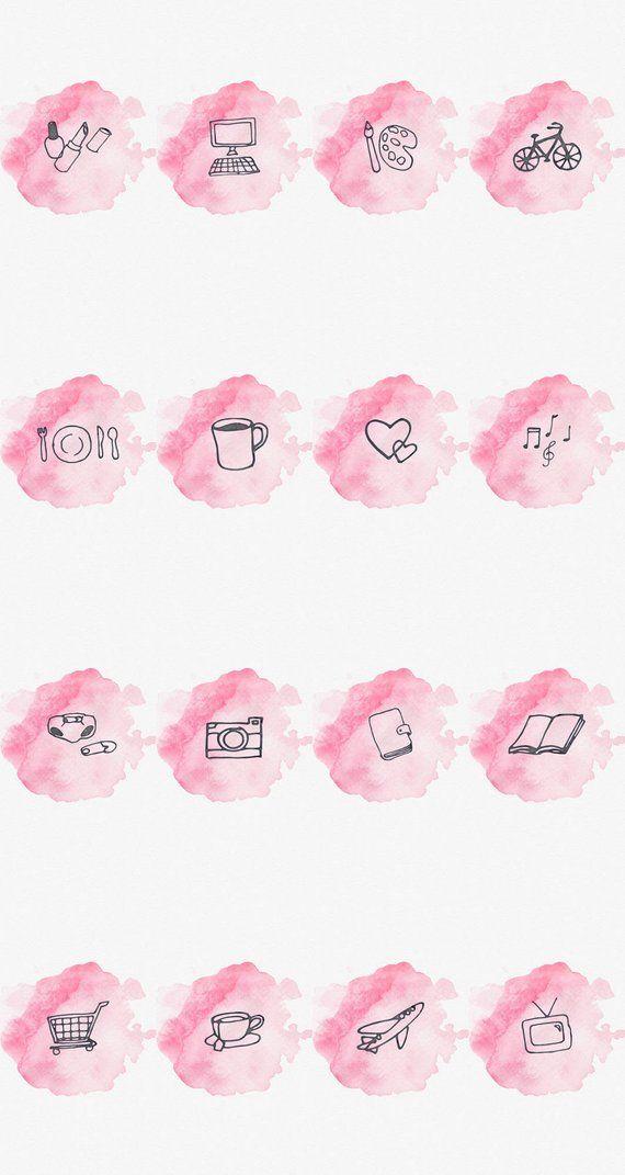 Historia de Instagram portada destacada-conjunto de 16-acuarela rosa-Bookstagram-Lifestyle bloggers