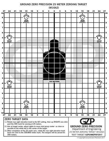 Dramatic image inside printable zeroing targets