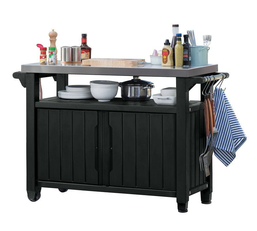 Cambron Caster Bar Serving Cart Grill Table Entertainment Storage Table Storage